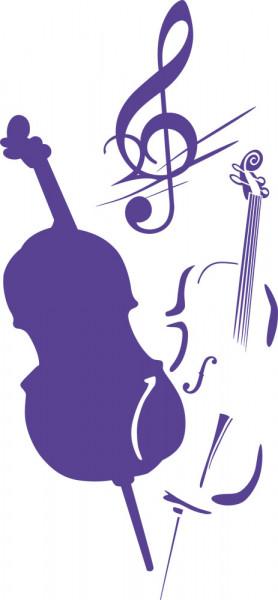 Wandtattoo Cello mit Notenschlüssel Musik schwungvolles Design