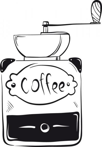 Wandtattoo Küche Coffee alte Kaffeemühle