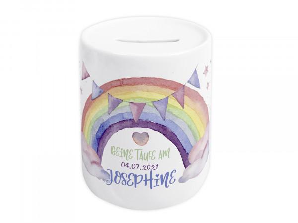 Spardose zur Taufe personalisiert - Regenbogen