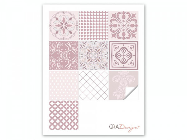 Fliesenaufkleber Set Ornamente Mandala rosa