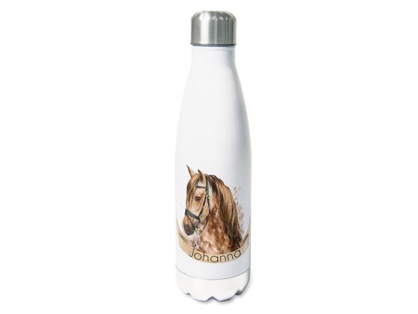 Isolierte Trinkflasche Pferd braun mit Namen