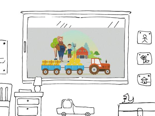 Fensterfolie Kinderzimmer für Jungen, Trecker und Bauernhof