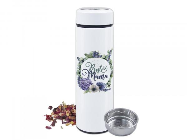 Thermo-Teeflasche mit Siebeinsatz mit Spruch Beste Mama und Blumen