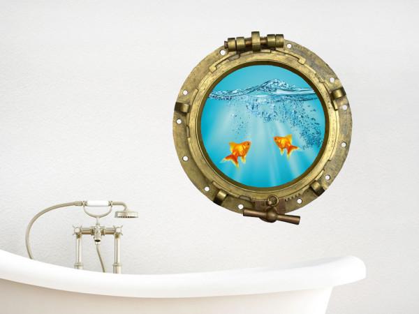 Wandsticker Wandtattoo Wandaufkleber Bullauge Goldfische Wasser