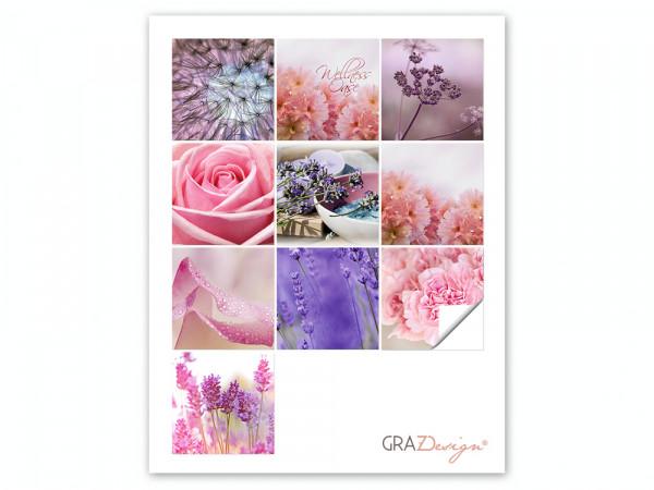 Fliesenaufkleber Set für Bad Rose Lavendel Blumen lila pink