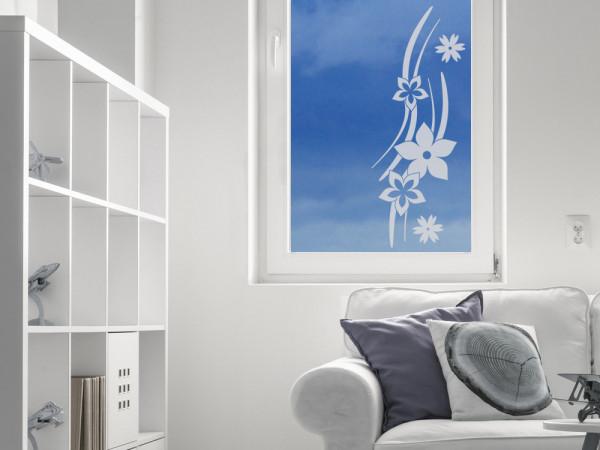 Glastattoo Wohnzimmer Ornamente Blumen