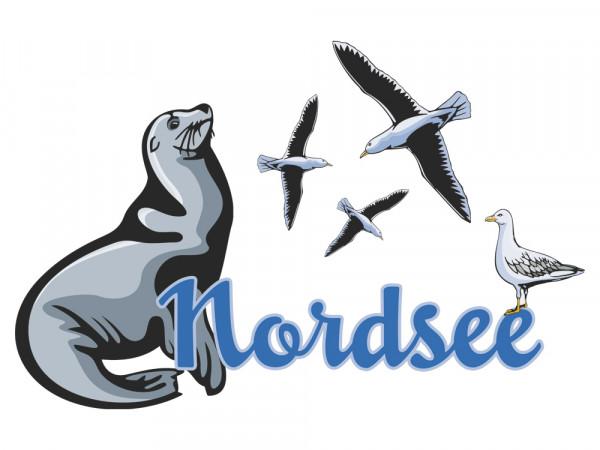 Wandsticker Wohnzimmer Nordsee Robbe Möwen