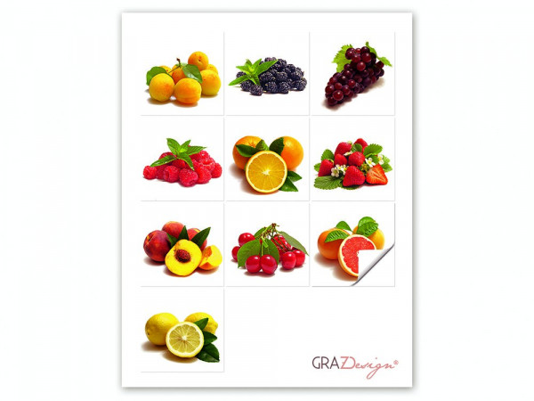 Fliesen zum Aufkleben Set Obst Erdbeere Früchte