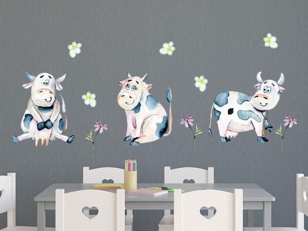 Wandtattoo lustige Kühe Kinderzimmer, Wandaufkleber für Jungen Mädchen, Deko für Babyzimmer Baby Jungenzimmer Jungs, Aquarell