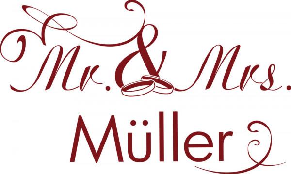 Wandtattoo für Hochzeit Spruch Mr. & Mrs. Wunschname