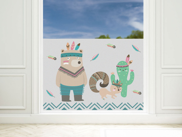 Sichtschutzfolie Kinderzimmer türkis Indianer Bär, Fensterfolie