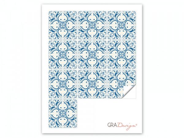 Fliesenaufkleber Set Mosaik weiß blau Mandala