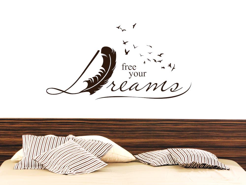 Wandtattoo Wandaufkleber Tattoo für Schlafzimmer Spruch Free your ...