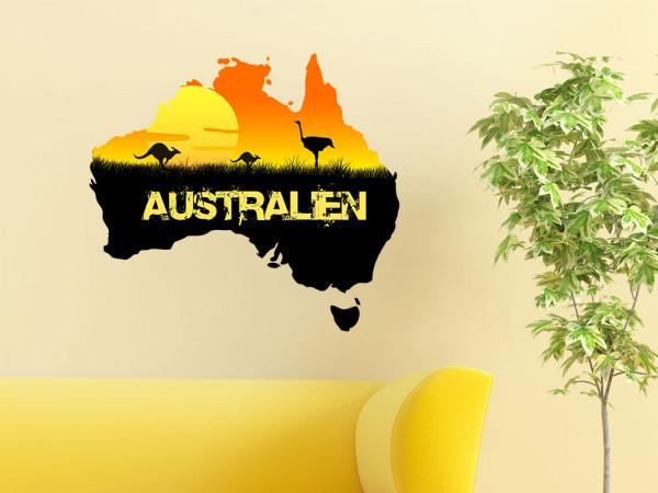 Wandsticker Australien mit Sonnenuntergang Känguru und Strauss