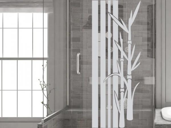 Fensterfolie für Badezimmer Bambus Streifen Pflanzen
