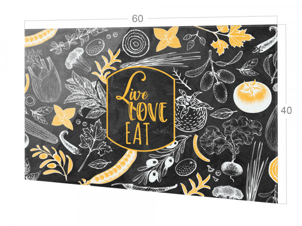 Spritzschutz Küche Glas Live Love Eat dunkelgrau