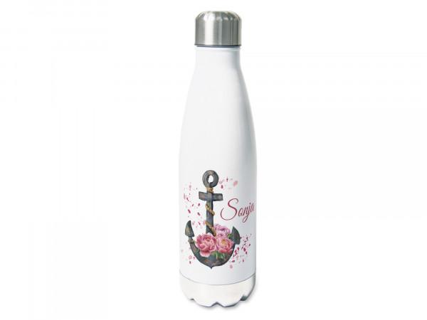 Trinkflasche personalisiert mit Namen, Anker mit Pfingstrosen