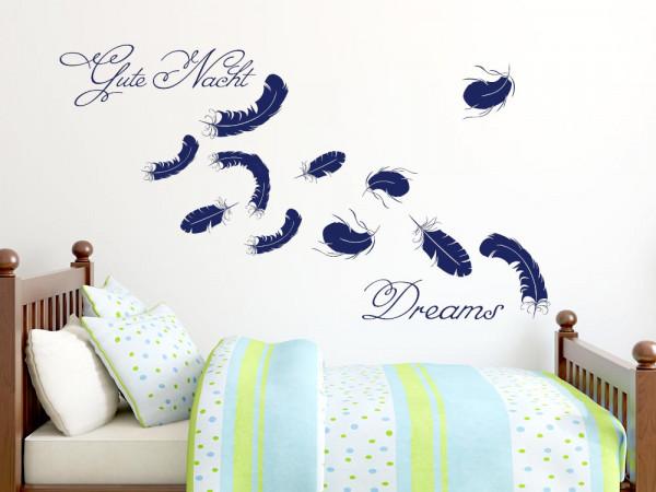 Wandtattoo Aufkleber Tattoo Set für Schlafzimmer Dreams Federn Spruch Deko