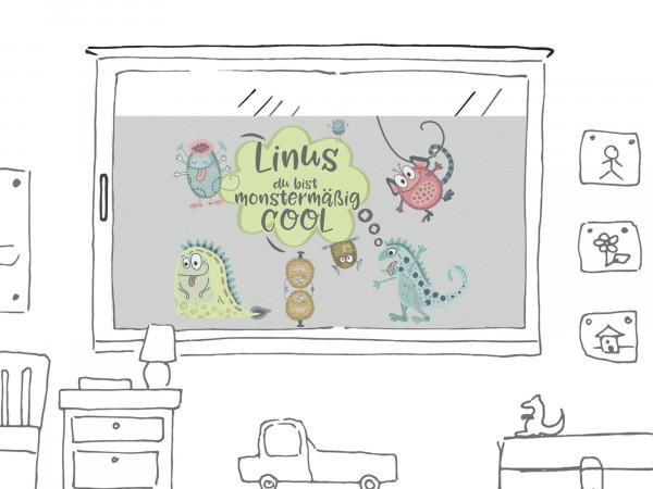 Fensterfolie für Kinderzimmer, Monster personalisiert