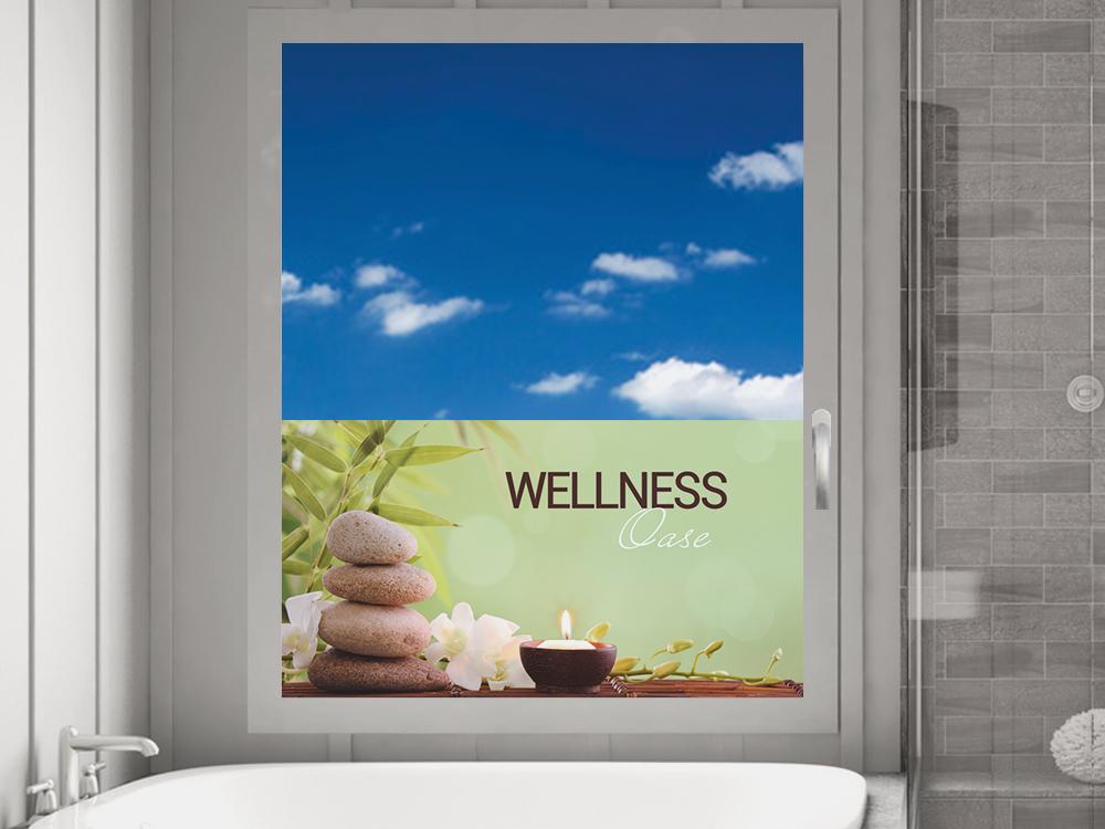 sichtschutzfolie wellness oase steine blume badezimmer sichtschutzfolie fensterfolie. Black Bedroom Furniture Sets. Home Design Ideas