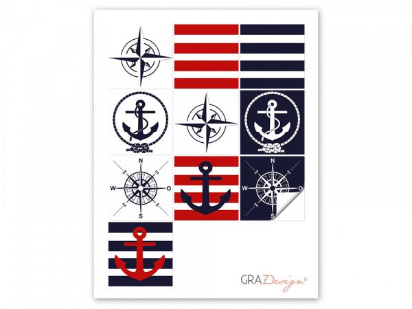 Fliesenaufkleber Set Anker Kompass Tau Streifen