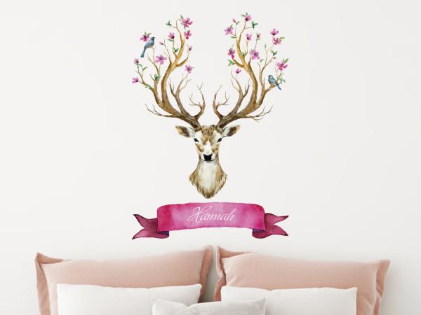 Wandtattoo Hirsch mit Blüten und Namen