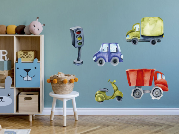 Wandtattoo Autos Kinderzimmer, Wandaufkleber für Jungen, Deko für Babyzimmer Baby Jungenzimmer Jungs, Aquarell
