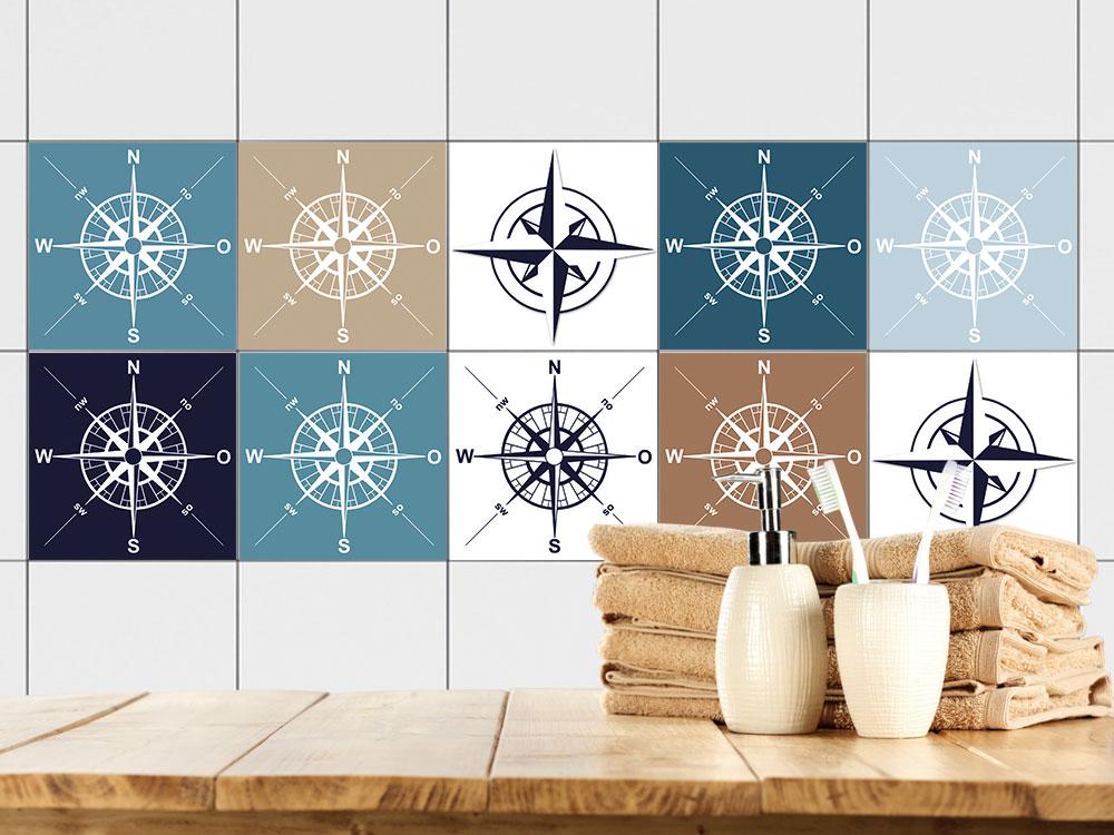 fliesen zum aufkleben set kompass schifffahrt bad. Black Bedroom Furniture Sets. Home Design Ideas
