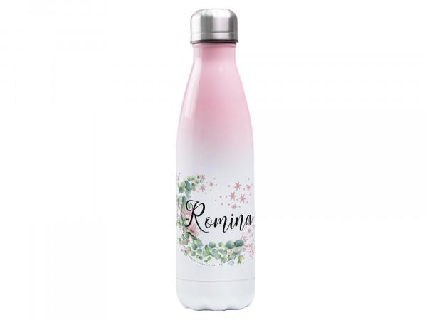 Trinkflasche rosa ♥ personalisiert - Eukalyptus Mond mit Sternen