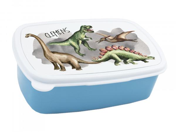Brotdose Kinder mit Namen für Jungen, Lunchbox Blau Brotzeitdose Dinosaurier