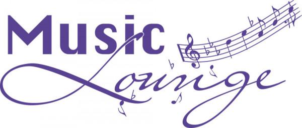 Wandtattoo Musik Schriftzug Musik Lounge mit Notenschlüssel Noten