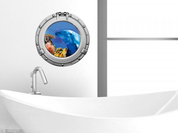 Wandsticker Wandtattoo Wandaufkleber Badezimmer Bullauge Delfin Korallen WC