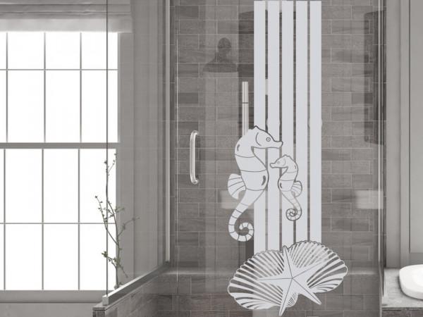 Fensterfolie für Duschkabine Badezimmer Seepferdchen Muscheln maritim