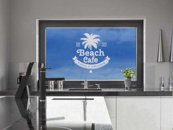Fenstertattoo Küche Beach Cafe Palme