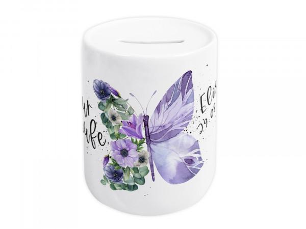 Spardose zur Taufe personalisiert - Schmetterling