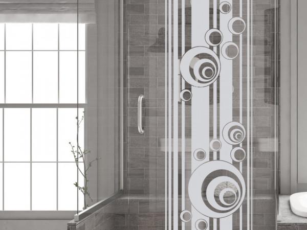 Fenstertattoo für Dein Bad mit Retro Kreisen