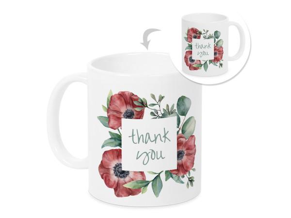 Tasse Danke Thank You mit Mohnblumen Dankeschön für alles