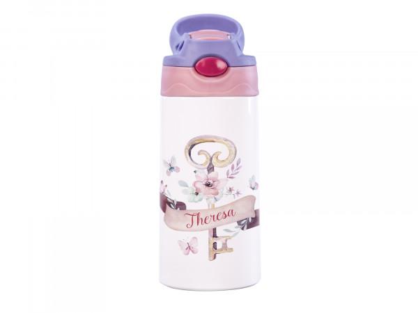 Thermosflasche für Mädchen mit Wunschname - Blumen Schlüssel