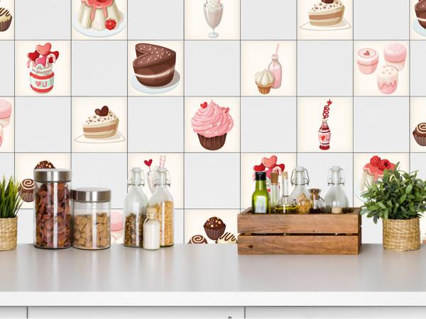 Fliesenaufkleber Set Eis Getränke Kuchen Lutscher (Set 10 Stück)