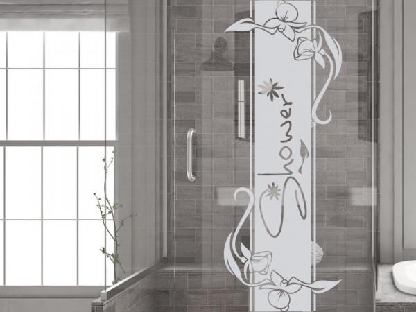 Fenstertattoo für Duschkabine im Badezimmer mit Blumen