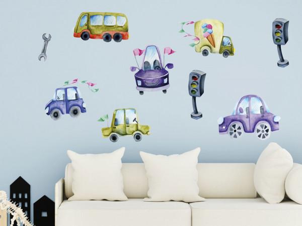 Wandtattoo Auto Kinderzimmer, Wandaufkleber für Jungen, Deko für Babyzimmer Baby Jungenzimmer Jungs, Aquarell