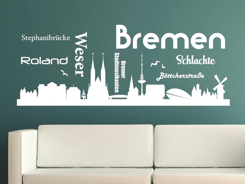 Fesselnd Wandtattoo Wohnzimmer Sticker Skyline Bremen Weser Roland Stadtmusikanten  Schla | Skyline | Rund Um Die Welt