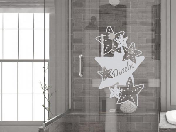 Fensterfolie für Badezimmer Seesterne Dusche Spruch