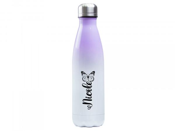 Trinkflasche lila ♥ personalisiert - Schmetterling schwarz/weiß