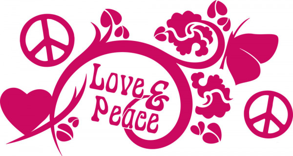 Wandtattoo Retro Love & Peace mit Ornamenten Design
