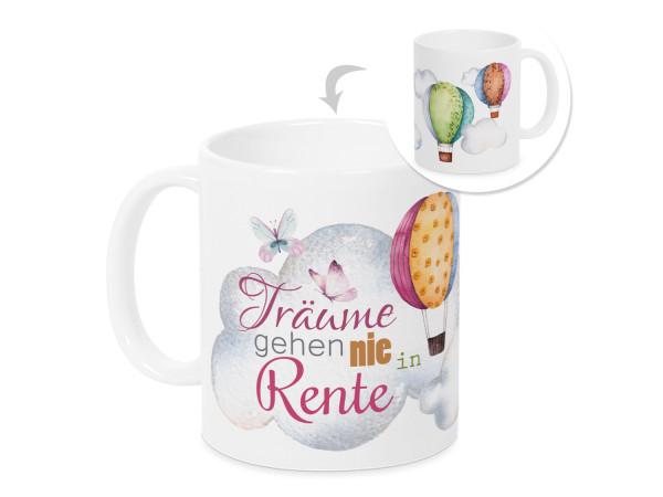 Tasse, Geschenk Rente Rentenbeginn mit Träumen