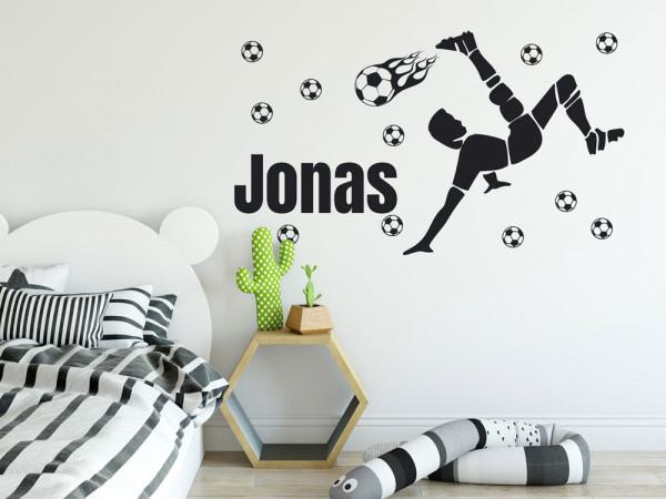 Wandtattoo Fußball mit Name für Kinderzimmer