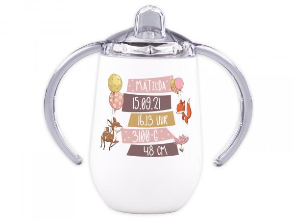 Trinklernbecher mit Griff für Babys personalisiert - Rehkitz