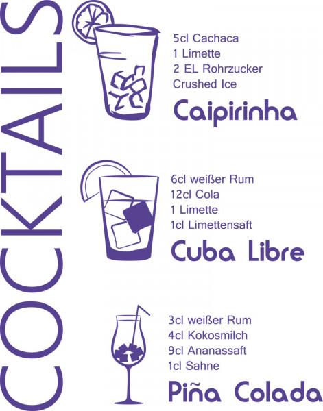 Wandtattoo Rezepte für Küche Cocktails Caipirinha Cuba