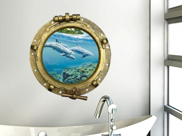 Wandsticker Wandtattoo Wandaufkleber Tiere Bullauge Bilderrahmen Delfine
